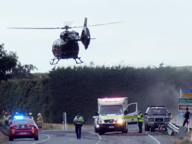 Three people have been flown to hospital after the crash near Roxburgh. Photo: Simon Henderson