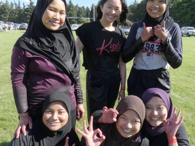 "Team ""Cherry Berries"", comprising (back left) Adlyn Abdul Halim, Gabriella Alexandra, Nurain..."