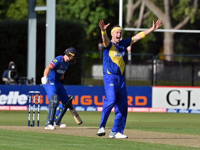 Volts bowler Michael Rae claims the wicket of Martin Guptill during his outstanding spell of...