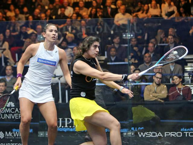 New Zealand squash player Joelle King (left) battles hard but cannot overcome Egypt's Nour El...