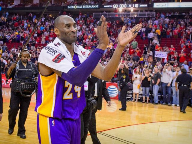 Kobe Bryant at the end of one of his last games for the LA Lakers. Photo: Jerome Miron-USA TODAY...