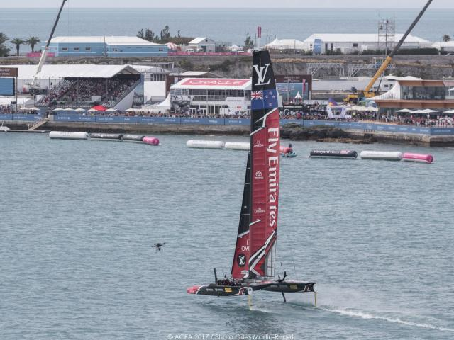 The Team New Zealand boat on the water. Photo: Getty Images