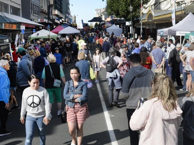 Some of the thousands who flocked to the Thieves Alley market in the Octagon and its surrounds on...