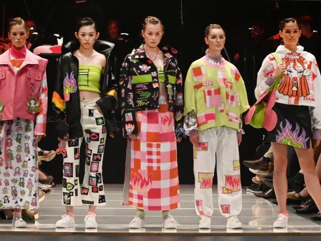 Garments from iD Fashion International Emerging Designer Awards winner Phoebe Lee are displayed...