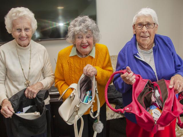 Woodcote Retirement Village residents Shirley Byrne, Ngaire Glanville and Ruth Cox with the...