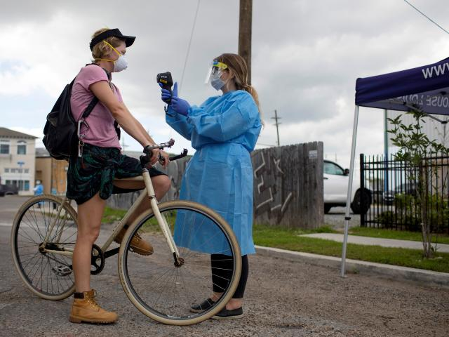 Drive-through testing facility for the coronavirus disease (COVID-19) in New Orleans. Photo:...