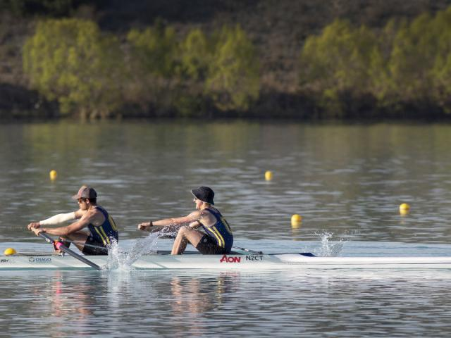 New NZ junior triallists Angus Kenny (left) and Reuben Cook rowing for Otago at Lake Ruataniwha...