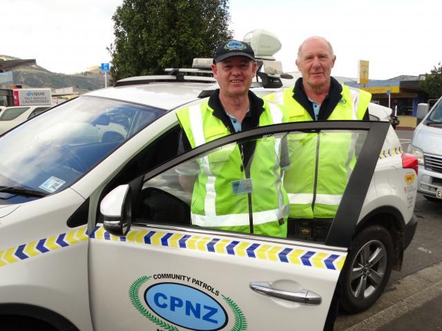 Mosgiel Community Patrol co-ordinator Merv Rowe (left) and volunteer Dave Mitchell. Photo: Brenda...