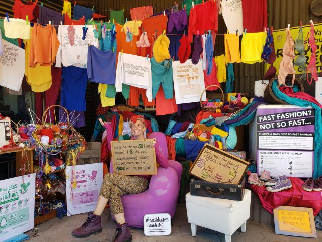 Kate Martin draws attention to the Six Items Challenge display at the front of Wastebusters in...