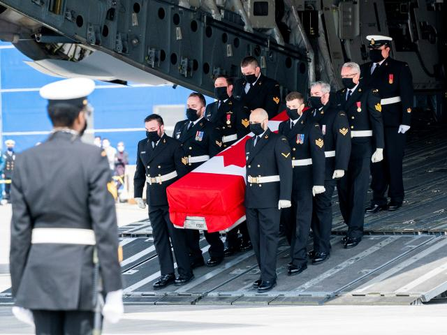 Repatriation ceremony for the Canadian Forces personnel killed in a military helicopter crash in...