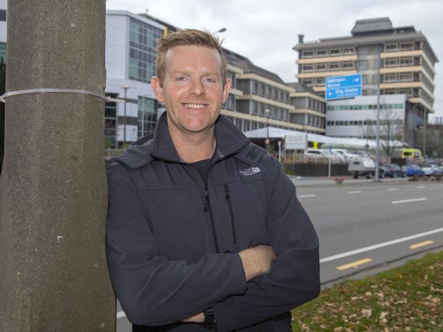 Jeremy Duggan outside Christchurch Hospital. Photo: Geoff Sloan