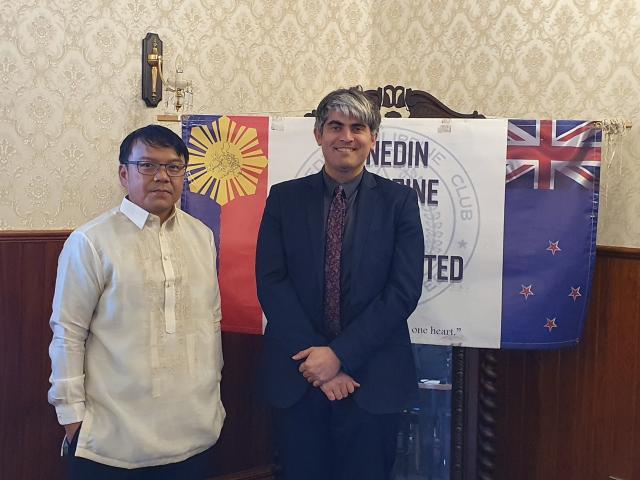 Dunedin City Mayor Aaron Hawkins with DPCI President Mr. Armando Clado, Jr.