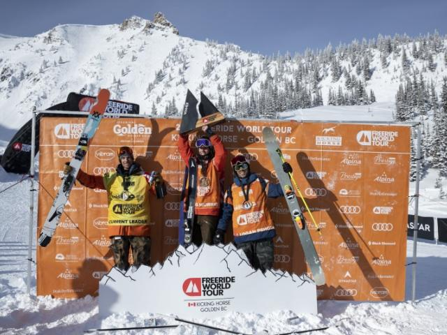 Craig Murray celebrates his maiden win on the Freeride World Tour, which was satged in Canada....