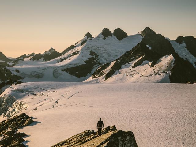 Assoc Prof Nicolas Cullen looks over the Garden of Eden, Southern Alps. PHOTO: ANGUS DOWSON