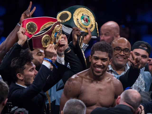 Anthony Joshua celebrates defeating US-Mexican Andy Ruiz Jr in their World Heavyweight...