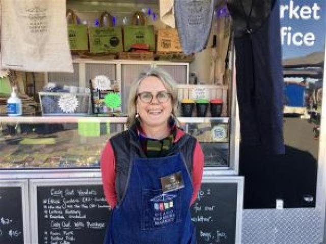 Otago Farmers Market manager Kate Vercoe enjoys Saturday's sunny day and busy market. PHOTO:...