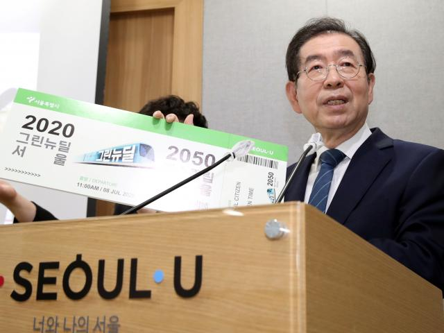 Seoul Mayor Park Won-soon speaks during an event at Seoul City Hall. Photo: Reuters