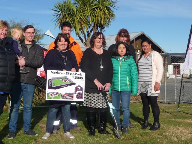 Kidz Methven committee members on the first day of construction in August last year were Tania...