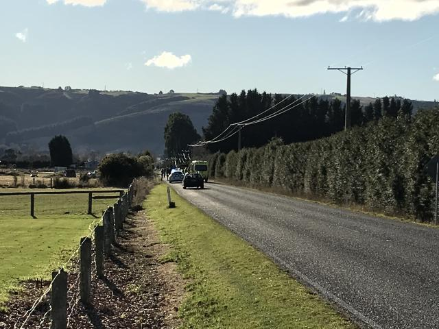 Emergency services at the scene of the crash. Photo: Gregor Richardson