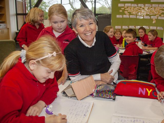 Bernadette May with year 3 and 4 pupils at Tai Tapu school. Photo: Geoff Sloan 