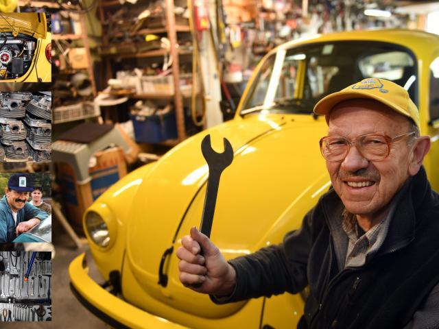 Mechanic Ken Berry displays his German-made Volkswagen Beetle, lovingly rebuilt over 16 years.