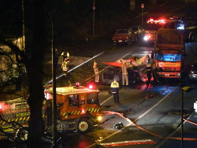 Two people have died in a crash early this morning in Kensington, Dunedin. Photo: Stephen Jaquiery