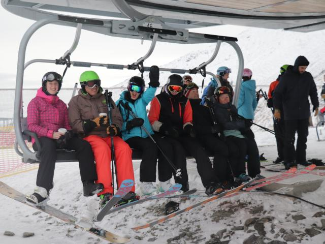 Skiers and boarders were excited to finally get up the slopes for 2020. Photo: Hugh Collins