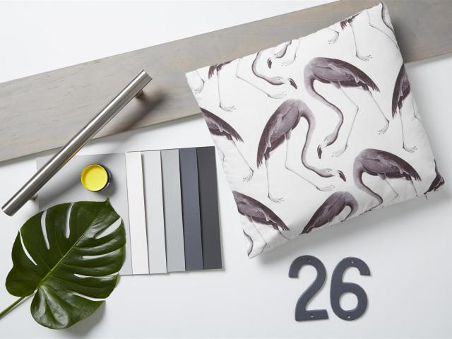 Background Resene Quarter Concrete; plank stained in Resene Woodsman Mid Greywash; house numbers...