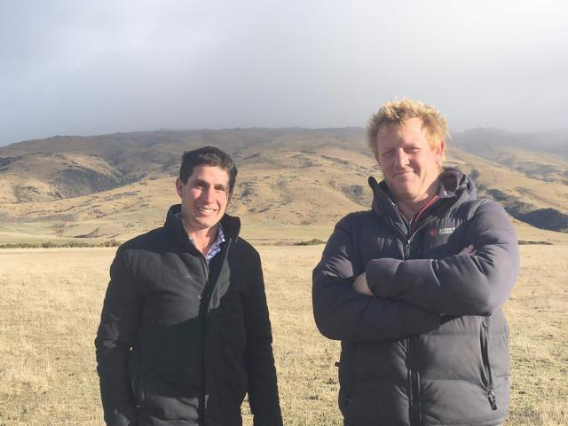 Strath Taieri Irrigation Company directors Bevan Wilson (left) and Ben Graham are excited about...