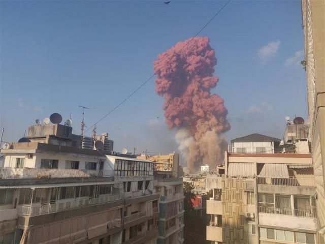 Smoke rises following the explosion in Beirut, in this picture obtained from a social media video...