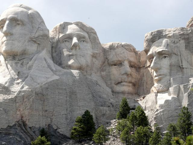The busts of US presidents George Washington, Thomas Jefferson, Theodore Roosevelt and Abraham...