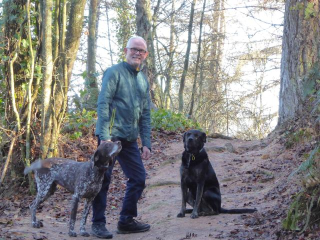 Lawrence resident Quentin Currall walks dogs Tara and Blaze in the town's domain. PHOTO: QUENTIN...