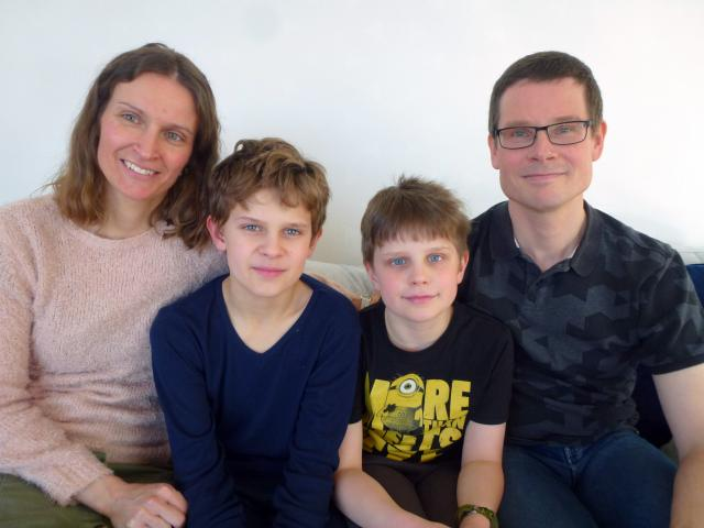 Annika Bokor and Mattias Salomonsson with sons Neo (11) and Max (9).