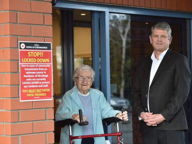 Birchleigh Residential Care Centre resident Elma McRobbie (103) and chief executive Malcolm...