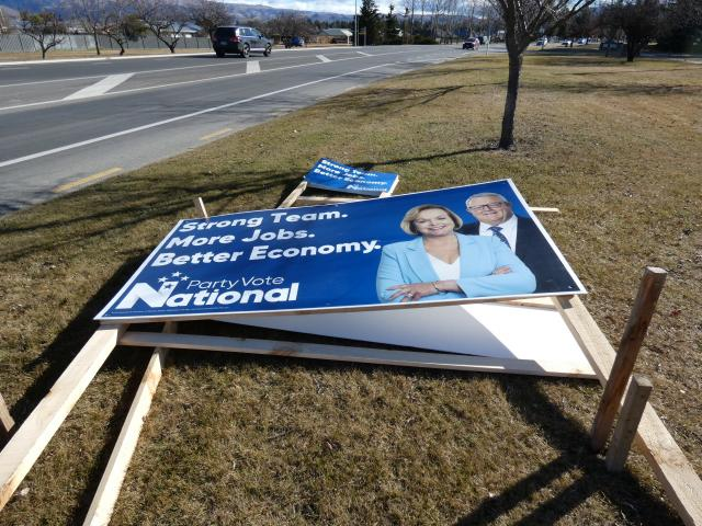 National's Southland candidate Joseph Mooney's election hoardings were smashed at the weekend....
