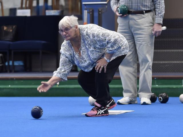Anne Craik plays during the Dunedin Lawn Bowls Stadium's 25th anniversary tournament on Sunday....