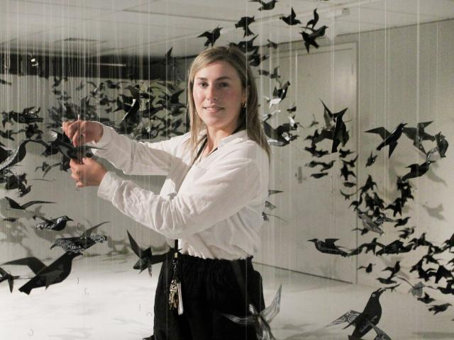 He Waka Tuia Art + Museum co-manager Gemma Baldock at the Titi installation, one of the most...