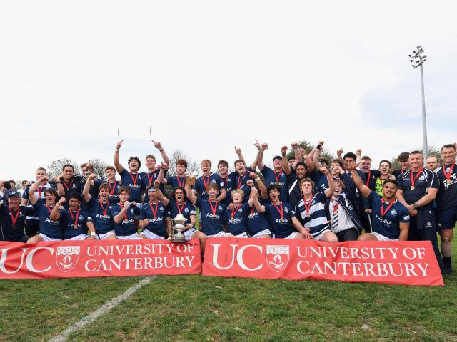 St Andrew's College celebrate their maiden UC Championship title after beating Christchurch Boys'...