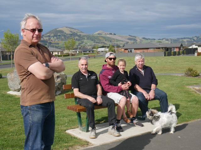 Silver Springs residents (from left) Michael Reece, Fred Donaldson, Hamish and Poppy (5) Carey,...