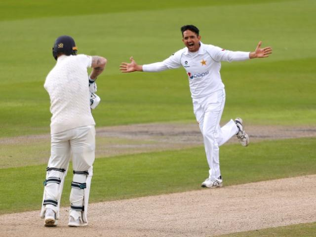 Pakistan's Mohammad Abbas celebrates taking the wicket of England's Ben Stokes at Old Trafford....