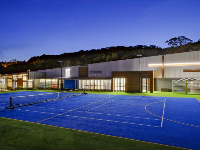 The visual and performing arts centre at St Hilda's, seen from the new netball/tennis court....
