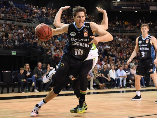Tom Abercrombie takes the ball to the hoop last year for the New Zealand Breakers. Photo: Getty...