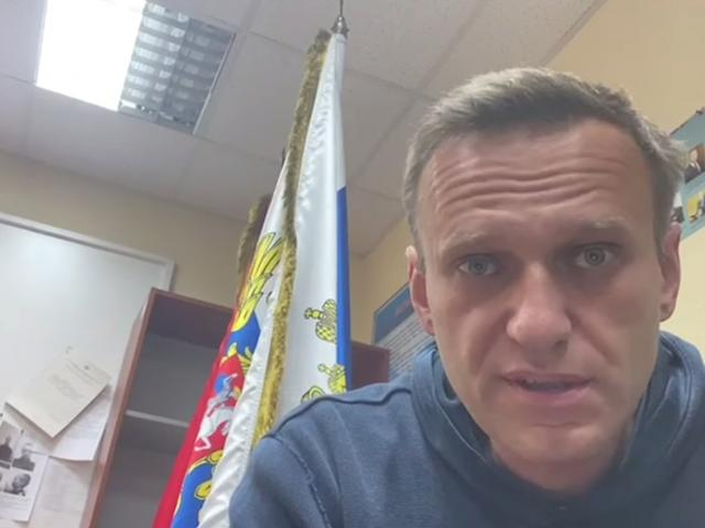 Alexei Navalny at a police station in Khimki outside Moscow on Monday. Photo: Reuters