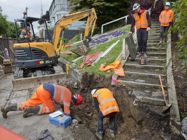 Contractors have started site works in George St, Dunedin, for the long-awaited memorial...