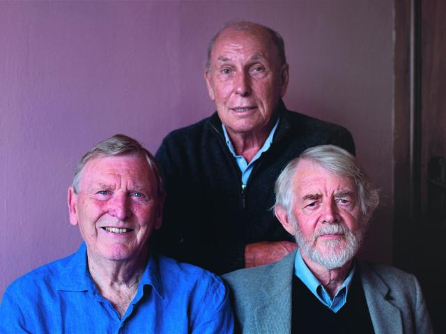 Longtime friends (from left) Grahame Sydney, Owen Marshall and Brian Turner.PHOTO: SUPPLIED