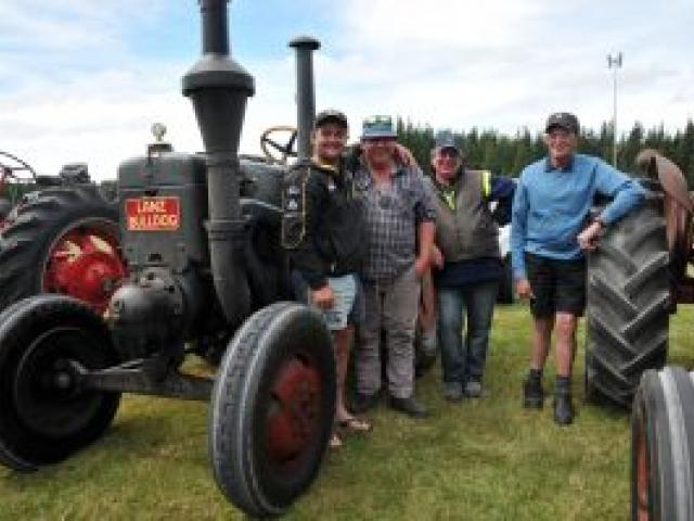 A 1938 Lanz Bulldog tractor drew admirers. Pictured are its owner, Phil Kerr, of West Melton,...