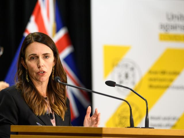 Prime Minister Jacinda Ardern at yesterday's press conference where Covid-19 restrictions were...