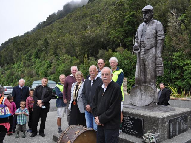 Dignitaries and descendants at the Brunner Mine site on Thursday morning. PHOTO: ALLAN GIBSON
