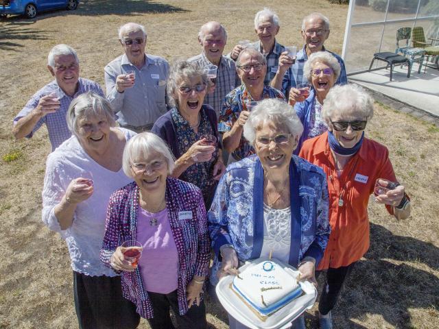 Back: Murray Walker, 87, of Akaroa, Ross Wynn, 86, of Broomfield, Barry Tewnion, 85, of Yaldhurst...