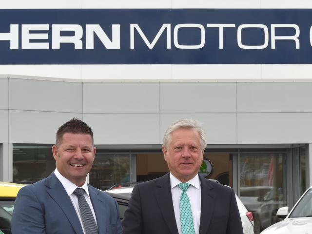 Southern Motor Group's new dealer principal Craig Brook (left) and managing director Ken Cummings...